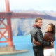 Golden gate bridge happy travel couple